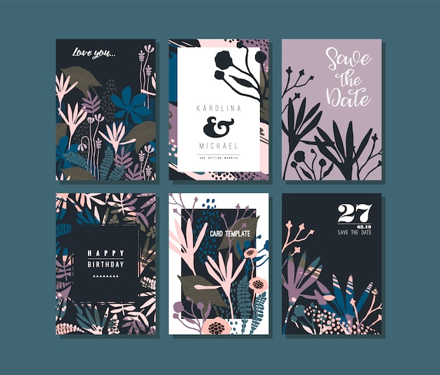 Conjunto de cartões criativos abstratos.