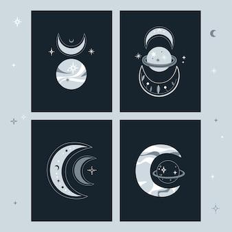 Conjunto de cartões criativos com lua crescente e conjunto de planetas. ilustração.