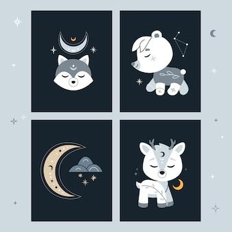 Conjunto de cartões criativos com lua crescente e planetas.