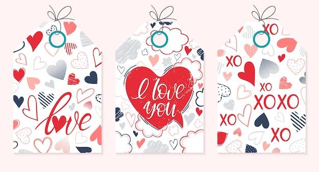 Conjunto de cartões criativos de dia dos namorados.