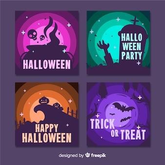Conjunto de cartões criativos de halloween