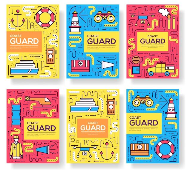 Conjunto de cartões da guarda costeira com linha fina