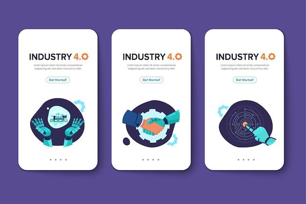 Conjunto de cartões da indústria 4.0 com braço robótico.