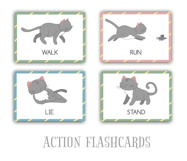 Conjunto de cartões de ações flash com gato. personagem bonito em pé, correndo, andando, deitado. cartões para aprendizagem precoce.