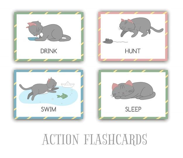 Conjunto de cartões de ações flash com gato. personagem bonito nadar, caçar, dormir, beber. cartões para aprendizagem precoce.