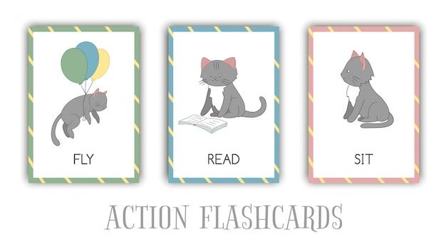 Conjunto de cartões de ações flash com gato. personagem bonito voando, lendo, sentado. cartões para aprendizagem precoce.