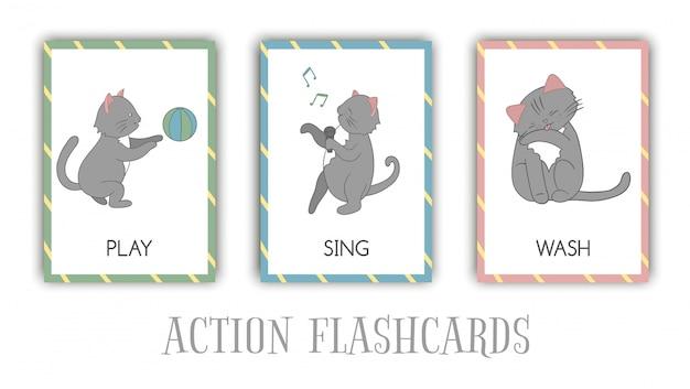 Conjunto de cartões de ações flash com gato. personagem fofa brincando, cantando, lavando. cartões para aprendizagem precoce.