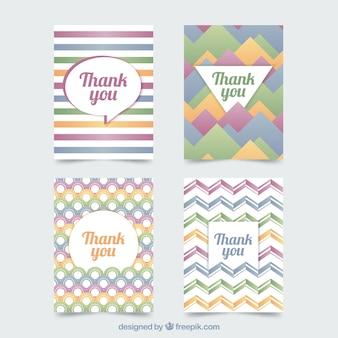 Conjunto de cartões de agradecimento abstratos