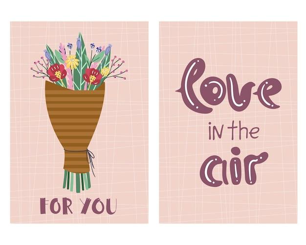 Conjunto de cartões de amor floral fofo para o dia dos namorados.