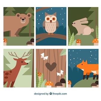 Conjunto de cartões de animais com design plano