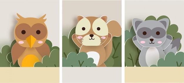 Conjunto de cartões de animais com esquilo, guaxinim e coruja na floresta.
