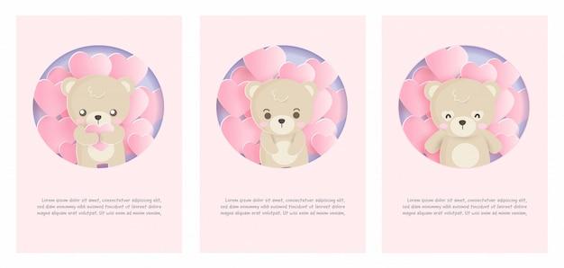 Conjunto de cartões de animais fofos com ursinho de pelúcia no estilo de corte de papel.