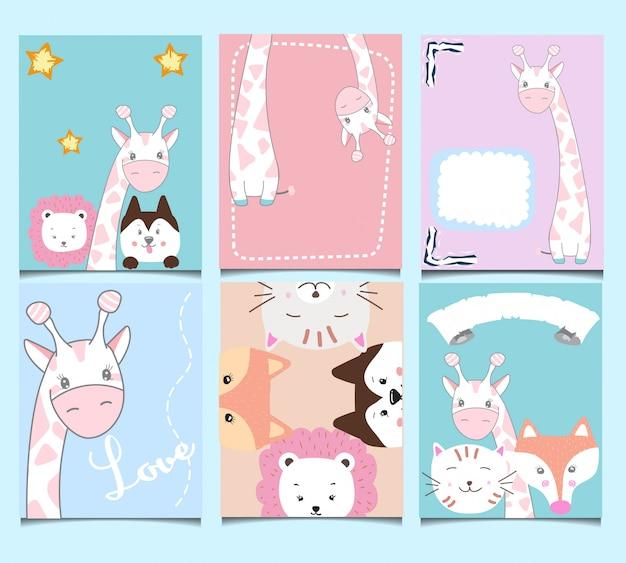 Conjunto de cartões de aniversário bonito.