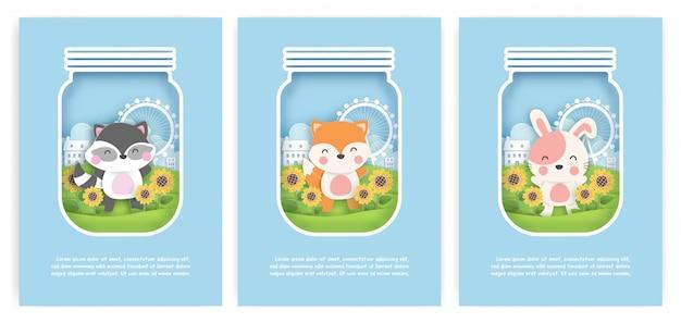 Conjunto de cartões de aniversário, cartões de chuveiro de bebê com guaxinim bonitinho, raposa e coelho no jardim girassol em estilo de corte de papel.
