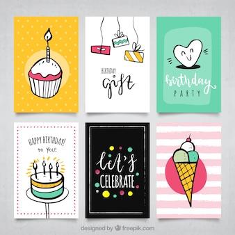 Conjunto de cartões de aniversário com desenhos
