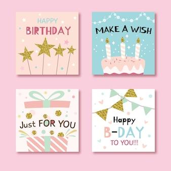 Conjunto de cartões de aniversário com elementos coloridos de festa
