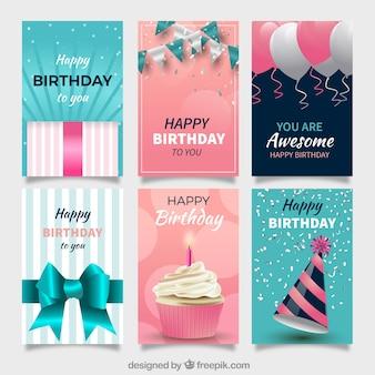 Conjunto de cartões de aniversário com elementos de celebração