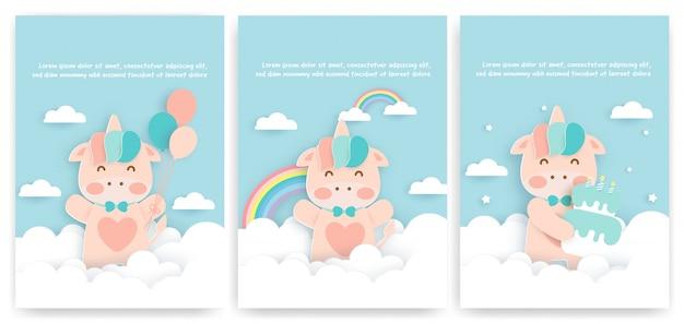 Conjunto de cartões de aniversário com unicórnio fofo.