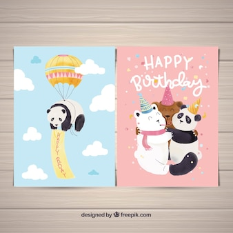 Conjunto de cartões de aniversário com ursos em estilo aquarela