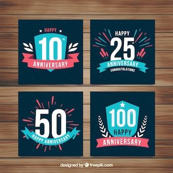 Conjunto de cartões de aniversário de casamento com números