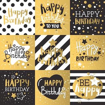 Conjunto de cartões de aniversário de luxo decorados com balões coloridos, estrelas, pontos, linhas