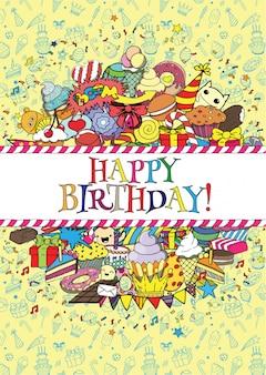 Conjunto de cartões de aniversário festa com doces doodles fronteiras