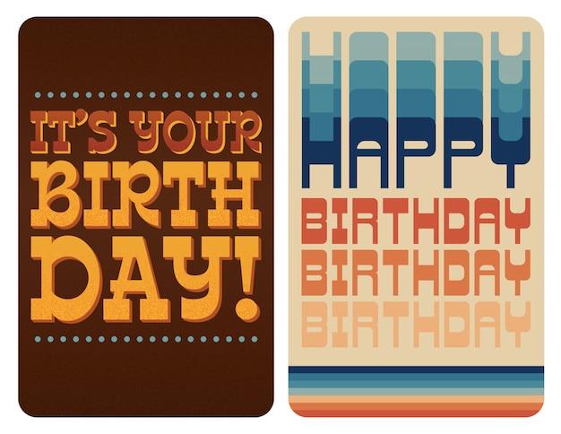 Conjunto de cartões de aniversário retrô