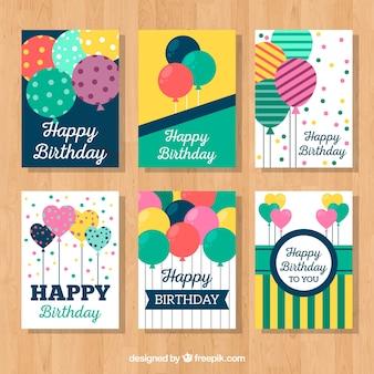 Conjunto de cartões de aniversário vintage com balões