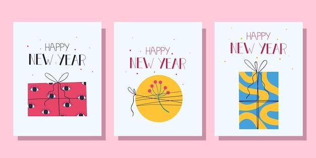 Conjunto de cartões de ano novo com presentes