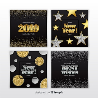 Conjunto de cartões de ano novo de prata e ouro 2019