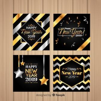 Conjunto de cartões de ano novo dourado e prata 2019