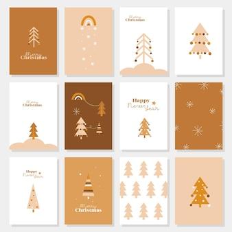 Conjunto de cartões de ano novo feliz ano novo feliz natal