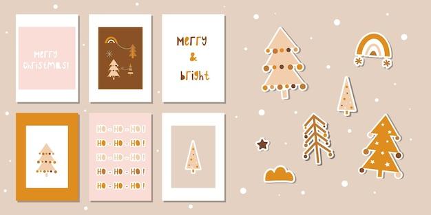 Conjunto de cartões de ano novo fofos em estilo escandinavo