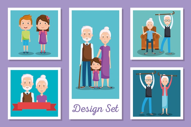 Conjunto de cartões de avós e netos