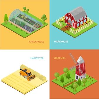 Conjunto de cartões de banner de fazenda com visão isométrica de armazém, estufa, moinho de vento e colheitadeira para jogos ou aplicativos