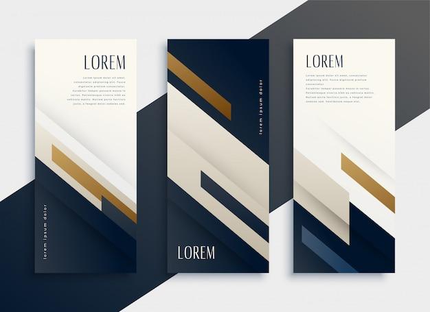 Conjunto de cartões de banner vertical de negócios modernos