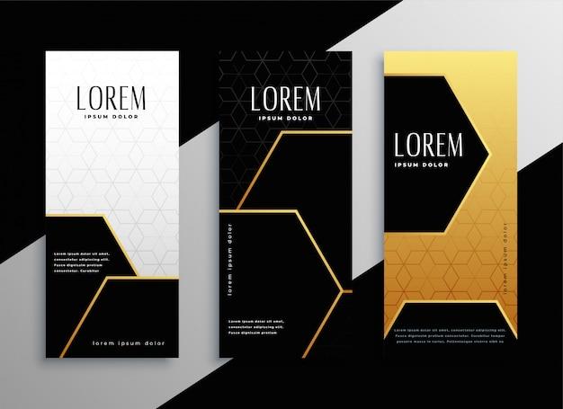 Conjunto de cartões de banner vertical dourado premium