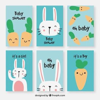 Conjunto de cartões de bebê com desenhos bonitos