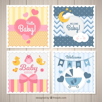 Conjunto de cartões de bebê em estilo plano