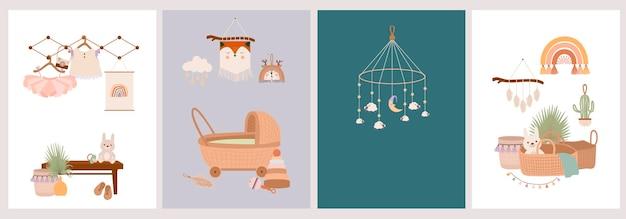 Conjunto de cartões de bebê fofo boho em estilo escandinavo.