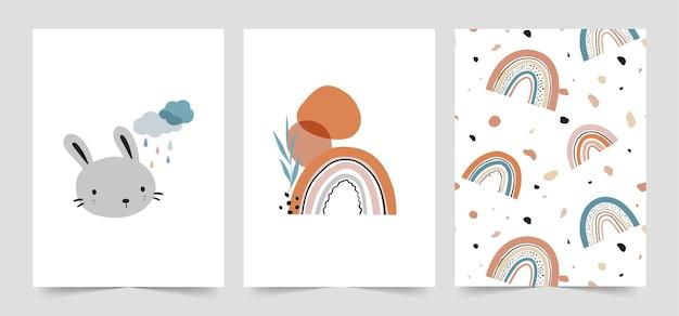 Conjunto de cartões de bebê fofo em estilo escandinavo.