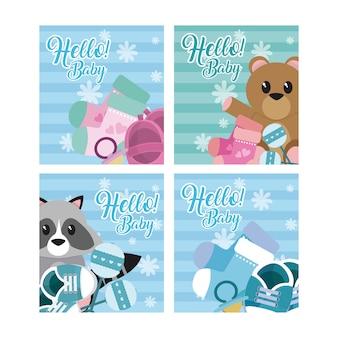 Conjunto de cartões de bebê olá