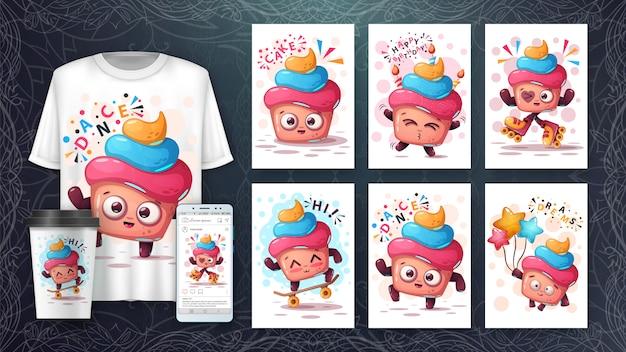 Conjunto de cartões de bolo fofo e merchandising.