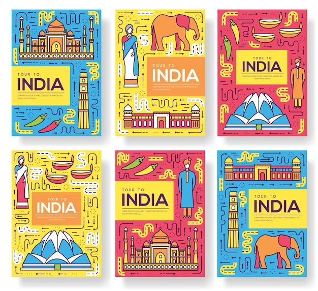 Conjunto de cartões de brochura da índia com linha fina