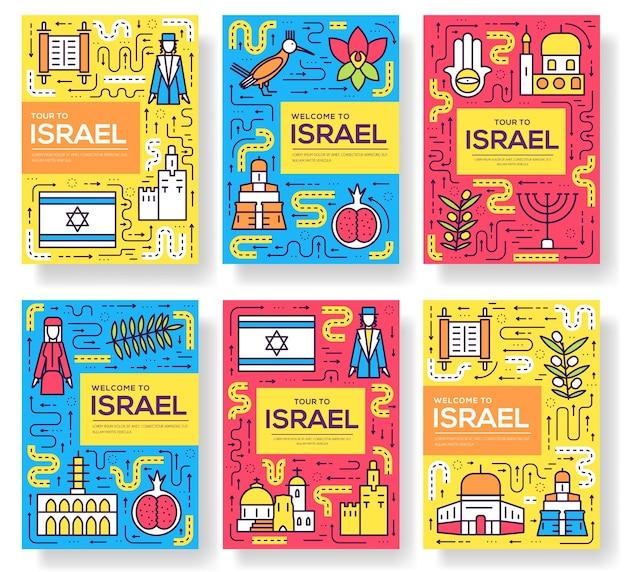 Conjunto de cartões de brochura de israel com linha fina