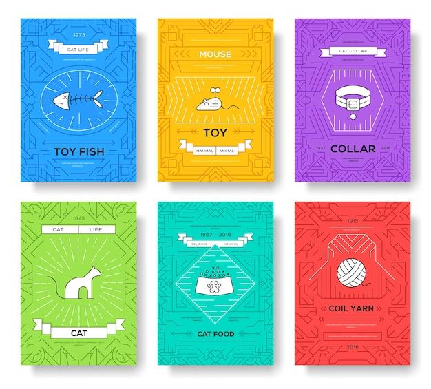 Conjunto de cartões de brochura de linha fina para gatos de raça