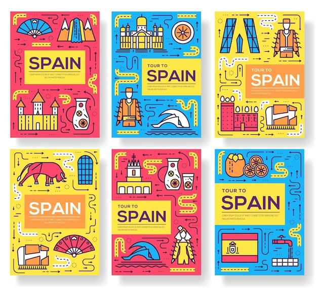 Conjunto de cartões de brochura de vetor da espanha