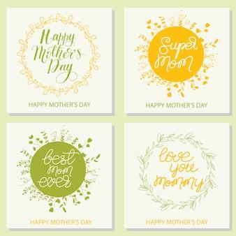 Conjunto de cartões de cartões com letras para o dia das mães. ilustração do vetor.
