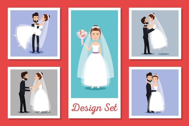 Conjunto de cartões de casais casados