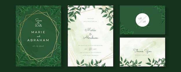 Conjunto de cartões de casamento com linhas douradas, florais, folhas.